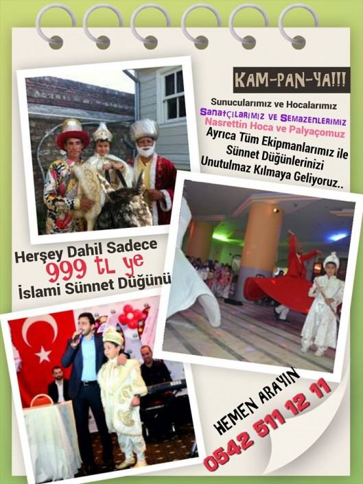 Herşey Dahil Sadece 999 tl ye İslami Sünnet Düğünü